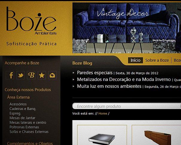 Novo website da Boze Ambientes - Móveis e Decoração