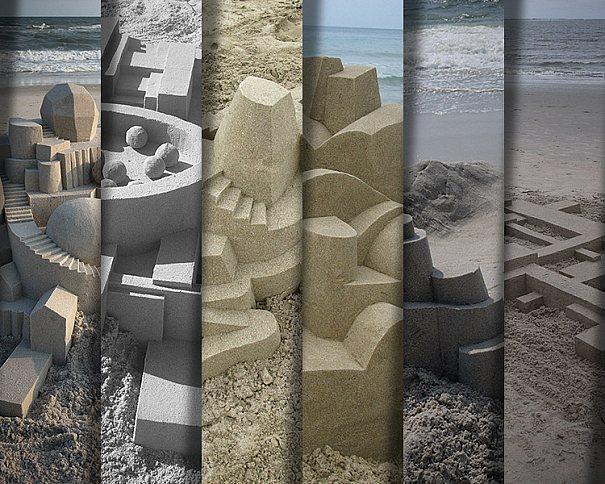 Criatividade em castelos de areia com objetos geométricos feitos por Calvin Seibert
