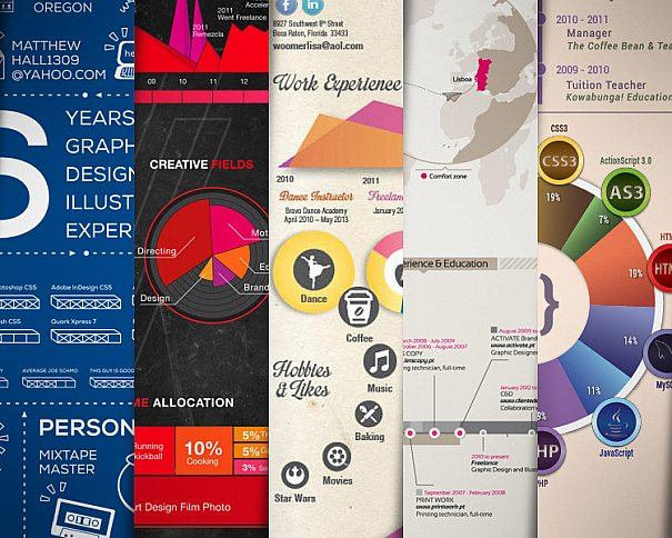 Modelos de currículos criativos usando infográficos, se você não tem, trate de começar a preparar o seu!