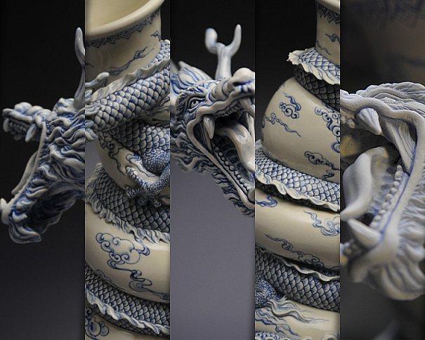 Arte em cerâmica, veja o Vaso de Dragão com pintura feito por Johnson Tsang Cheung-shing