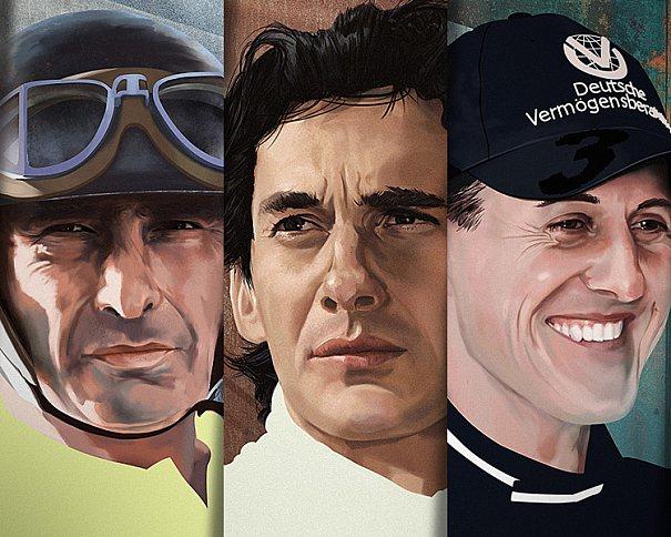Ilustrações de ídolos da Fórmula 1 por Piotr Buczkowski