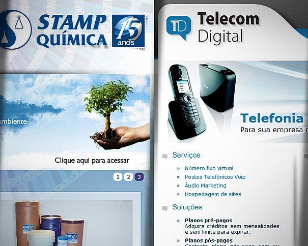 Desenvolvimento de sites da Stamp Química e Telecom Digital entregues em Abril pela ZeroArts