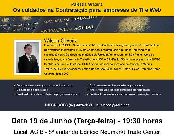 Palestra Os cuidados na Contratação para empresas de TI e Web com Wilson Oliveira
